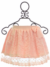 Mae Li Rose Lace Skirt for Girls in Peach