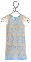 Mae Li Rose Light Blue Dress for Girls with Overlay
