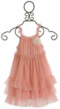 Mae Li Rose Pink Ruffle Dress for Girls with Flower Pin (Size 5)