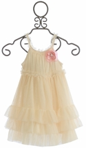 Mae Li Rose Ruffle Dress for Girls in Cream (Size 7)