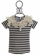 Mae Li Rose Striped Top for Girls in Navy