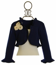 Magpie and Mabel Girls Navy Shrug with Rosettes (18Mos,2,4,5,10)
