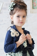 Magpie and Mabel Girls Navy Shrug with Rosettes