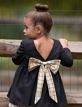 Mary Helen Girls Tunic with Bow in Navy