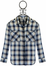 Mayoral Girls Plaid Shirt in Navy Blue