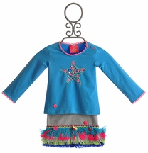 Mim Pi Baby Girls Star Top with Fringe Skirt (9Mos & 12Mos)