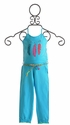 Mim Pi Blue Romper for Girls with Belt (4, 5, 8 & 9)