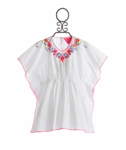 Mim Pi Embroidered Tunic Top in White (4, 5, 7, 8)