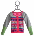 Mim Pi Girls Cardigan in Chevron Stripes