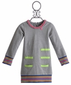 Mim Pi Girls Gray Tunic with Stripe Hem
