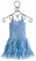 Mim Pi Light Blue Tulle Ruffle Girls Dress