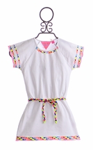 Mim Pi White Tunic Top with Colorful Details (Size 9)