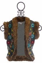 Mimi and Maggie Fur Vest for Girls with Flowers