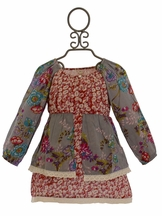 Mimi and Maggie Girls Red Floral Peasant Dress