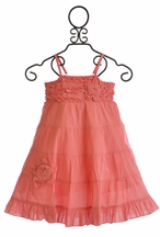 Mimi and Maggie Girls Ruffle Dress with Flower Blooms