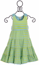 Mimi and Maggie Knit Dress with Crochet in Aqua Stripe