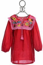 Mimi and Maggie Peasant Dress for Girls in Red