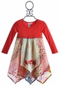 Mimi and Maggie Red Apron Patchwork Girls Dress - 12 Mos