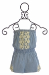 Mimi and Maggie Romper for Girls with Crochet Accents