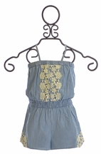 Mimi and Maggie Romper for Girls with Crochet Accents (4,5,LG/14)