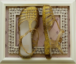 Mini Melissa Gold Glitter Sandals