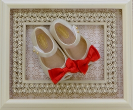 Mini Melissa White Flats with Red Bow
