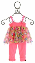 Mini Mini Infant Dress with Leggings in Pink Floral