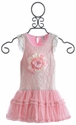 Mini Mini Pink Lace Flower Little Girls Dress