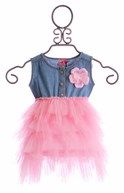 Mini Mini Pink Tutu Dress for Girls with Denim Bodice (18 Mos & 4T)