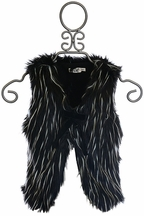 Mini Molly Girls Faux Fur Vest in Black and White