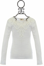 Mini Molly Girls Lace Top in White