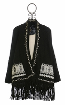 Miss Me Black Cardigan with Fringe Tween (MD 10 & LG 10/12)