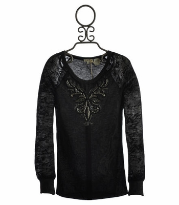 Miss Me Black Filigree Top for Tweens