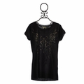 Miss Me Black Washed Knit Tee for Tweens