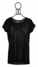 Miss Me Black Washed Knit Tee for Tweens (Size SM 7/8)