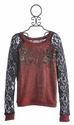 Miss Me Burn Orange Beaded Tween Top with Lace Sleeves