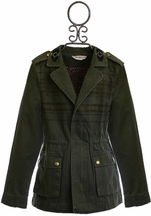 Miss Me Cargo Jacket for Tweens in Olive Green