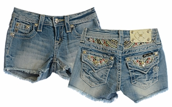 Miss Me Flap Pocket Jean Shorts for Girls (Size 8)