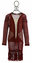 Miss Me Fringed Cardi in Red for Girls
