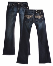 Miss Me Girls Bootcut Jeans for Tween Rhinestone Glam (8 & 14)