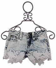 Miss Me Girls Denim Shorts with Lace Trim