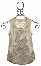 Miss Me Girls Embellished Tank Top with Lace