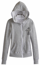 Miss Me Girls Gray Hooded Sweatshirt with Zipper (Size MD 10)
