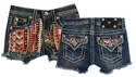 Miss Me Girls Jean Shorts with Sequined Aztec Print