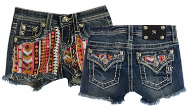 Miss Me Girls Jean Shorts with Sequined Aztec Print (8,10,12,14)
