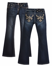 Miss Me Girls Jeans with Bedazzled Cross Pockets (7 & 10)