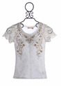 Miss Me Girls Lace Sleeved Shirt Country Chic (Size MD 10 & XL 14)