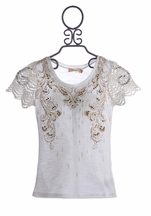 Miss Me Girls Lace Sleeved Shirt Country Chic (Size MD 10)