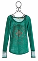 Miss Me Girls Long Sleeve Top with Teal