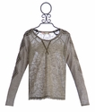 Miss Me Girls Long Sleeve Trim Shirt with Embellished Sleeves